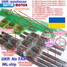 UA kit de 3 Rails linéaires carrés L 400/700/1000mm et 3 vis à bille 1605 400/700/1000mm avec écrou et 3 jeux BK/B12 et couplage pour CNC