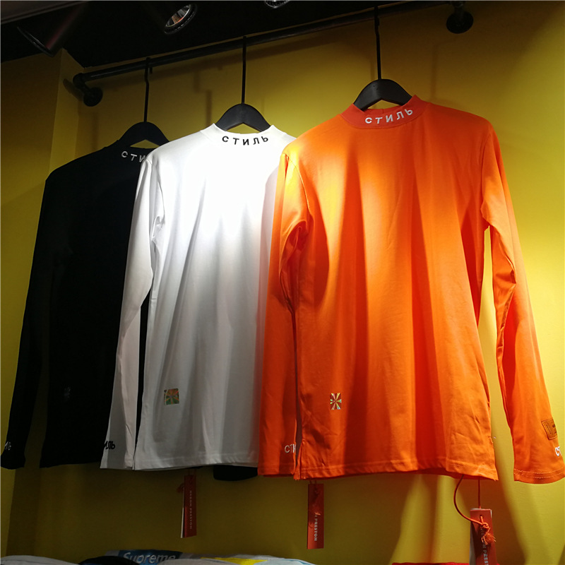 Heron Preston Classic Half-Turtle-Neck Base Shirt Autumn And Winter Hot Selling Embroidered Long Sleeve Base Shirt