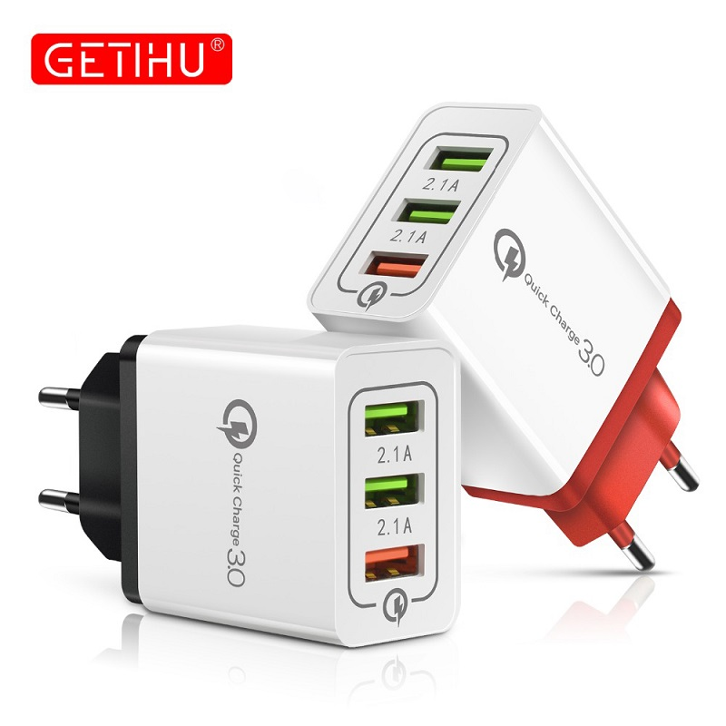 GETIHU 18W Multi USB Charger Fast Charge EU Plug Universal Wall Adapter Mobile Phone Charger For iPhone 11 Xiaomi Huawei Samsung(China)