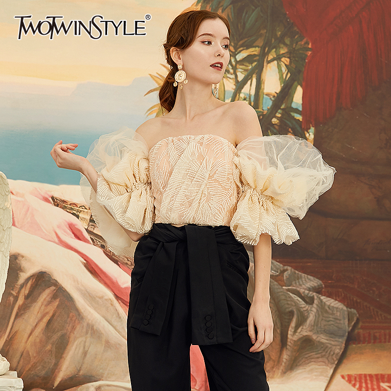 TWOTWINSTYLE Patchwork Mesh Shirt Women Slash Neck Off Shoulder Flare Short Sleeve Embroidery Ruffle Sexy Blouse Fashion Clothes