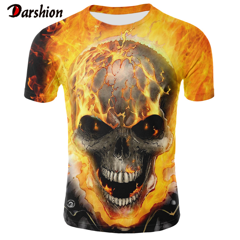 Realistic Men's Skull T-shirt Fire Shirts 3D Printed Men's Tops Popular Summer New Boy Short Sleeve Top And Tees For Male