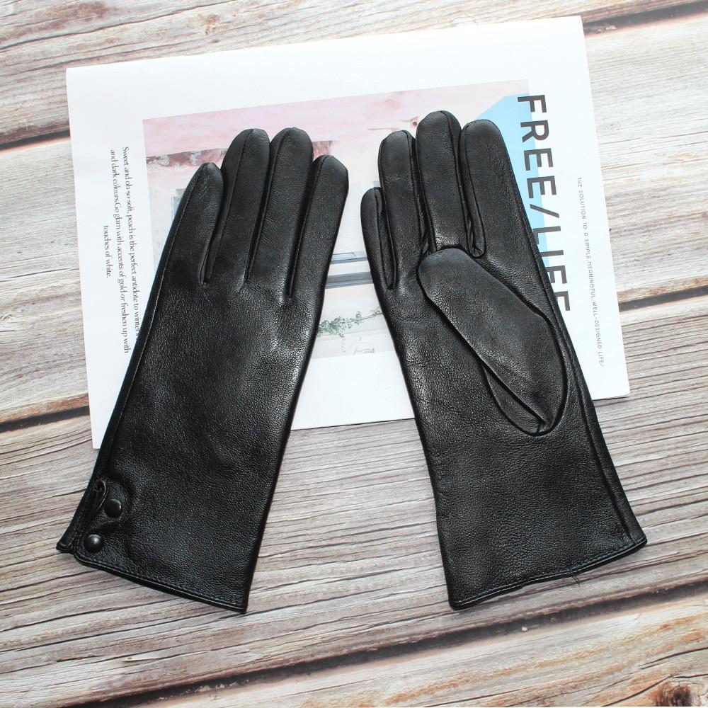 Bickmods Women Black Genuine Leather Gloves Button Style Fashion 2 Types Keep Warm In Winter And Autumn Mittens