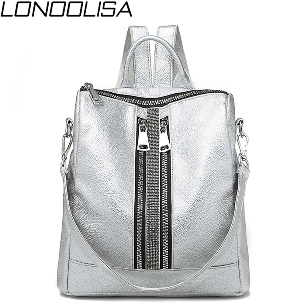 2019 Women's New Multi-function Fashion Zipper Backpack Soft Leather Waterproof Ladies Tote Luxury Shoulder Bag Sac A Dos Female