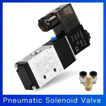 Pneumatic Fittings 3 Way 2 Position Port 1/4 Air Control Solenoid Valve 3V210-08 DC12V DC24V AC110V AC220V Muffler 4v210 08 pneumatic dc12v dc24v ac110 ac220 5 way triple solenoid valve w base push in connectors silencer