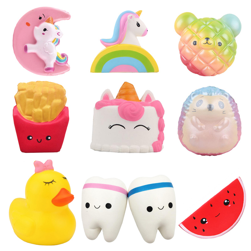 Stress Relief Squishy Toy Unicorn Cake Rainbow Bear Bread French Hedgehog Lemon Strawberry Watermelon Squeeze Toys For Children