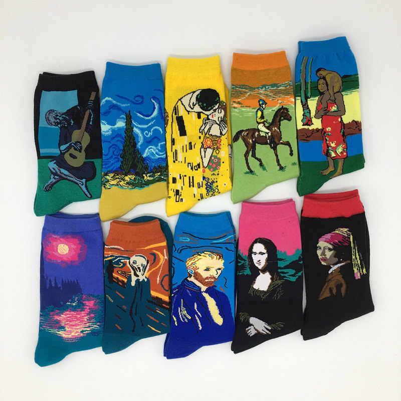 10 Paren/partij Mannen Argyle Kleurrijke Jurk Funny Crazy Art Gedessineerde Katoen Sokken Nieuwigheid Gekamd Katoenen Sokken Voor Geschenken