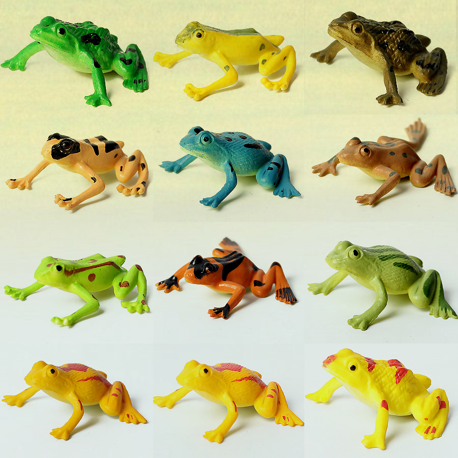 Toy Figure Model-Action-Figures Frogs Animals Plastic Small 12PCS Assorted Colorfu Character