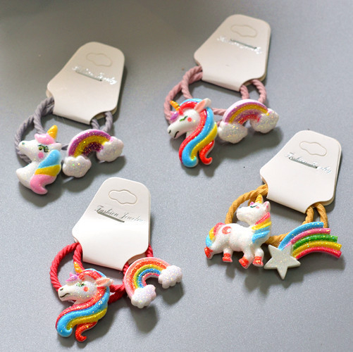 2PCS New Cute Cartoon Pony Rainbow Princess Headwear Kids Elastic Hair Bands Children Ropes Girls Accessories Baby Headdress
