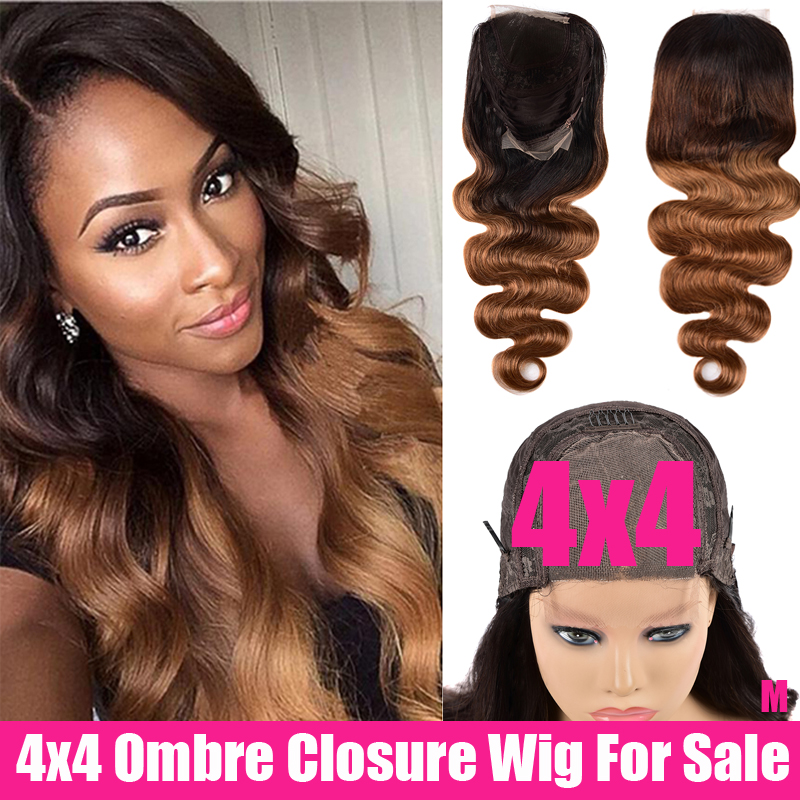 SAYME 150% Ombre Peruvian Body Wave Closure Wig 4x4 Lace Closure Wig Ombre Human Hair Wigs Remy 1B/4/27 Swiss Lace Wig For Women