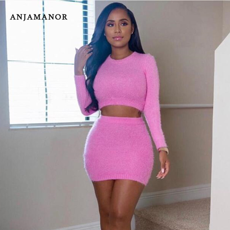 Anjamanor Fuzzy Pink Sexy Two Piece Set Club Birthday Outfits For Women Sweater And Skirt Matching Sets Fall 2 Pieces D67 Aa70 Women S Sets Aliexpress