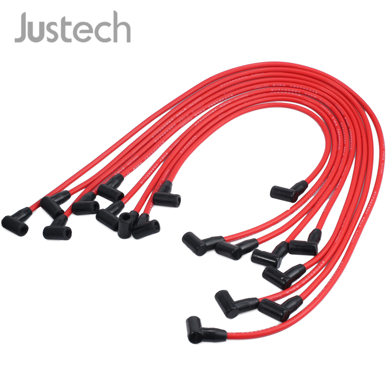 Justech 9pcs Spark Plug Wires Set For SBC BBC Chevrolet Engines HEI 350 383 454 Electronic D030-PW-SBC350 Spark Plug Wire