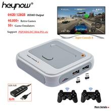 Heynow amlogic s905m wifi hdmi saída super console x 50 + emuladores 40000 + jogos retro mini jogador de vídeo tv para ps1/n64/dc
