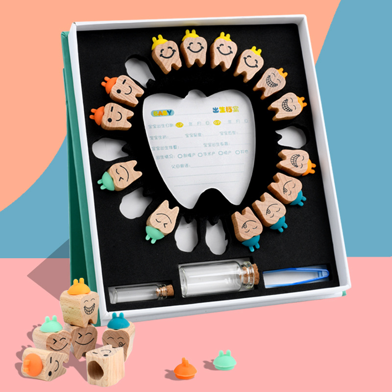 Wooden Baby Tooth Box Milk Teeth Organizer Storage Collection