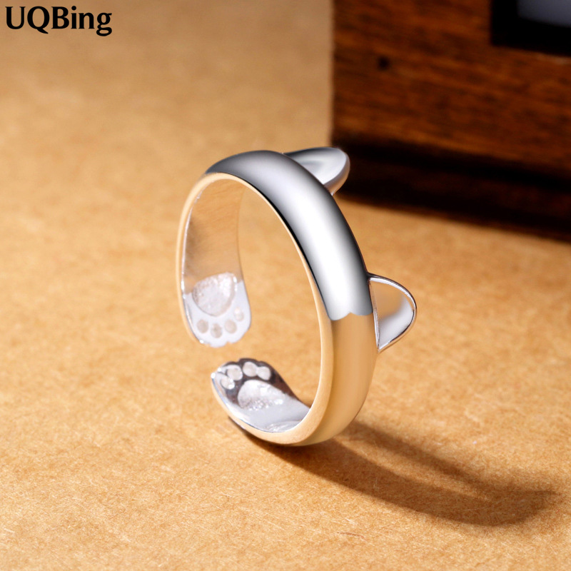 2019 Gratis frakt Silver Open Ring 925 Silver Cat Ring For Women Smykker Finger Ring For Party Bursdagsgave