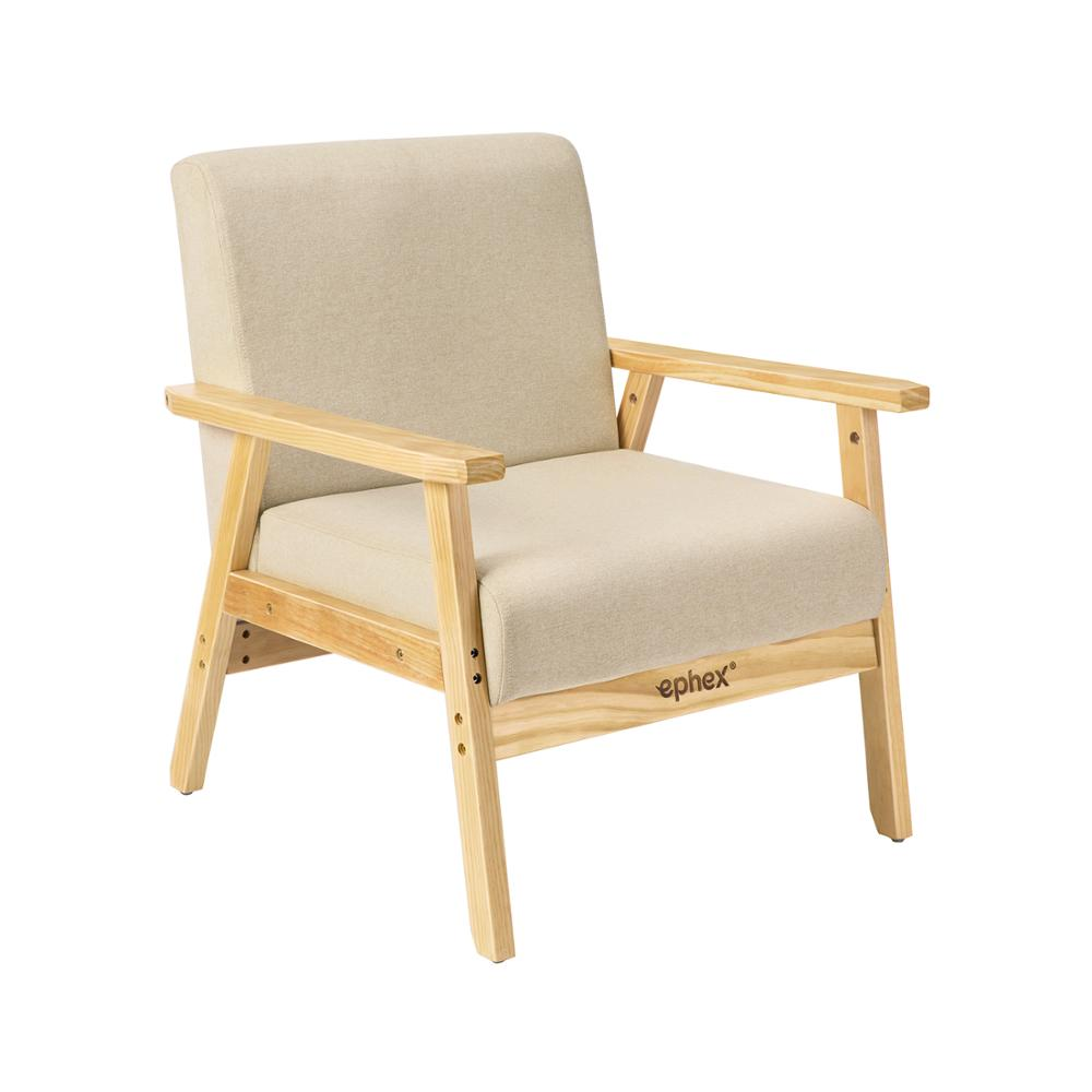 Wondrous Us 94 85 30 Off Accent Single Sofa Mid Century Modern Wooden Arm Fabric Upholstered Lounge Chair Apartment Living Room Chairs Light Yellow On Bralicious Painted Fabric Chair Ideas Braliciousco