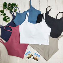 Soft Sports Bra top Gym Fitness Bra For Women Yoga Tops Workout Sports Black White Crop Tops With Removable Pads