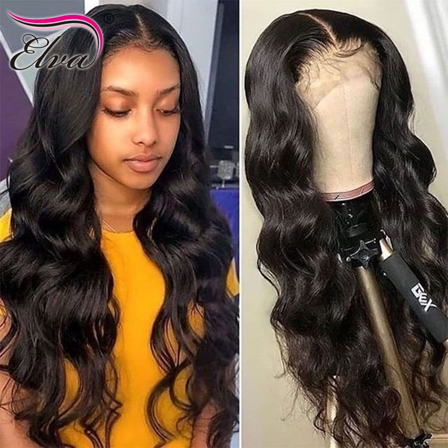 13x6 Fake Scalp Lace Front Human Hair Wigs Elva Hair Lace Front Body Wave Wigs For Black Women Pre Plucked Remy Hair Baby Hair