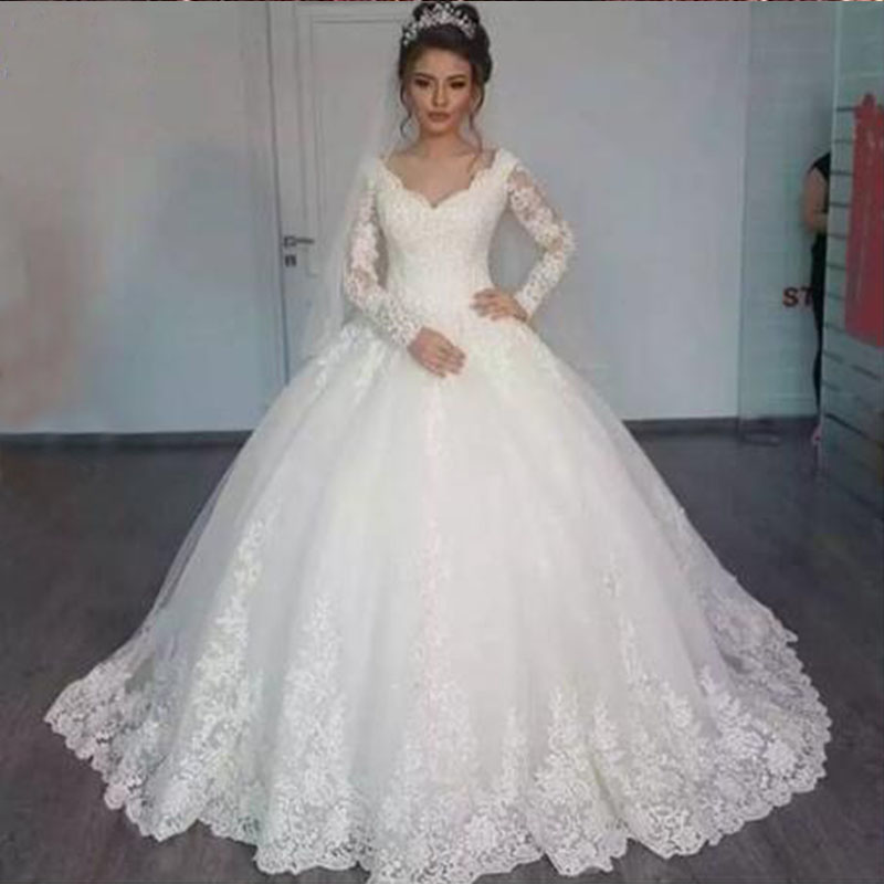 ZJ9170 2019 New V Neck White V Neck Long Sleeve Lace Bottom Vintage Wedding Dresses For Brides Plus Size Maxi Size 20W 22W 24W