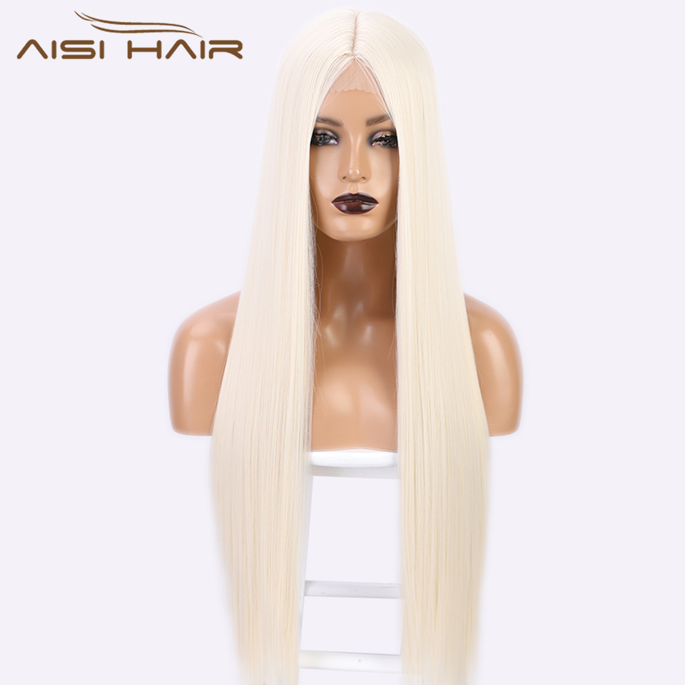 AISI HAIR 24&30 Inches Synthetic Long Straight White Wig Middle Part Black Blonde Red Wig for Women Heat Resistant Fiber
