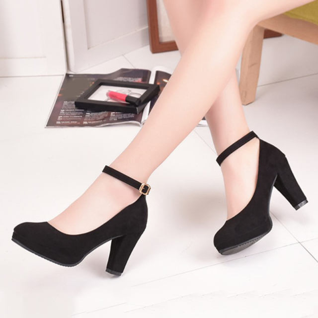 Women's Fashion Pumps Sweet Woman Thick High Heels Ankle Strap Flock Female Platform Mary Jane Women Shoes Ladies Footwear