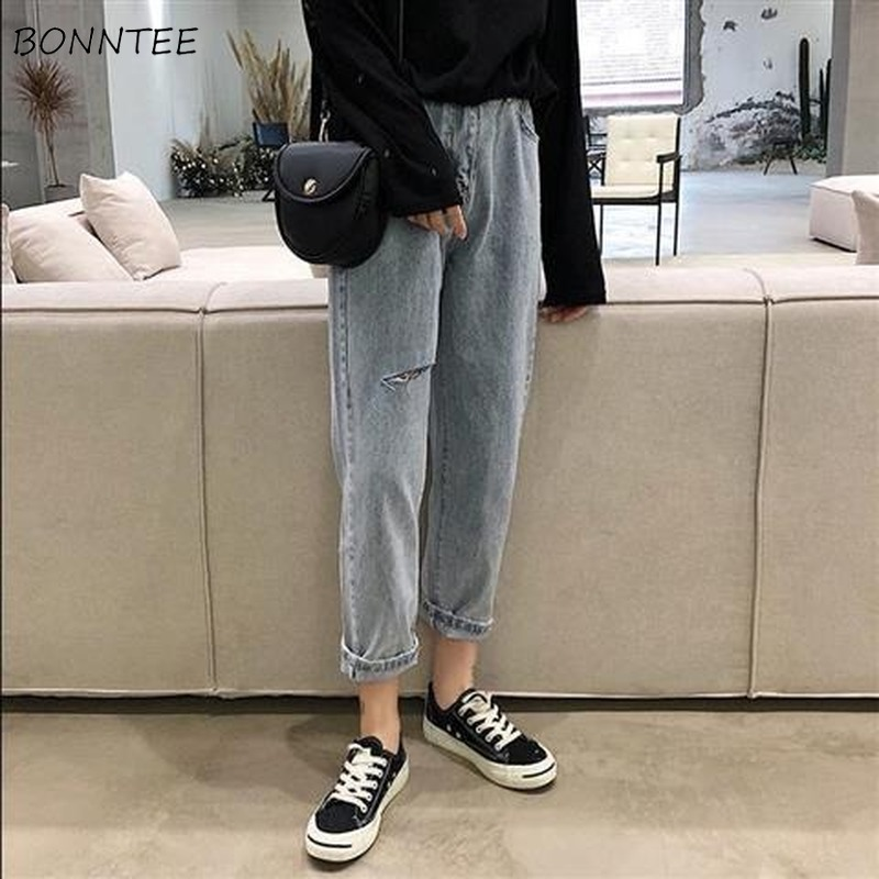 Ripped Jeans Women Classic Solid Denim Blue Hole High Waist Womens Trousers Chic Harajuku Daily All-match Simple Korean Style