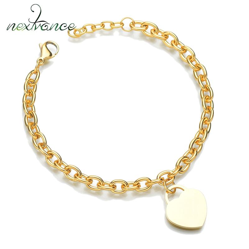 Nextvance-bracelet personnalisé pour Couple en forme de cœur, en acier inoxydable, Bracelets pour femme, à maillons avec nom gravé, bricolage, livraison directe