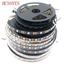 купить DC5V 0.5m/1m/4m/5m Black/White PCB 30/60/144 leds/m WS2812IC 30/60/144 LED pixels WS2812B Smart led pixel strip lights по цене 648.06 рублей