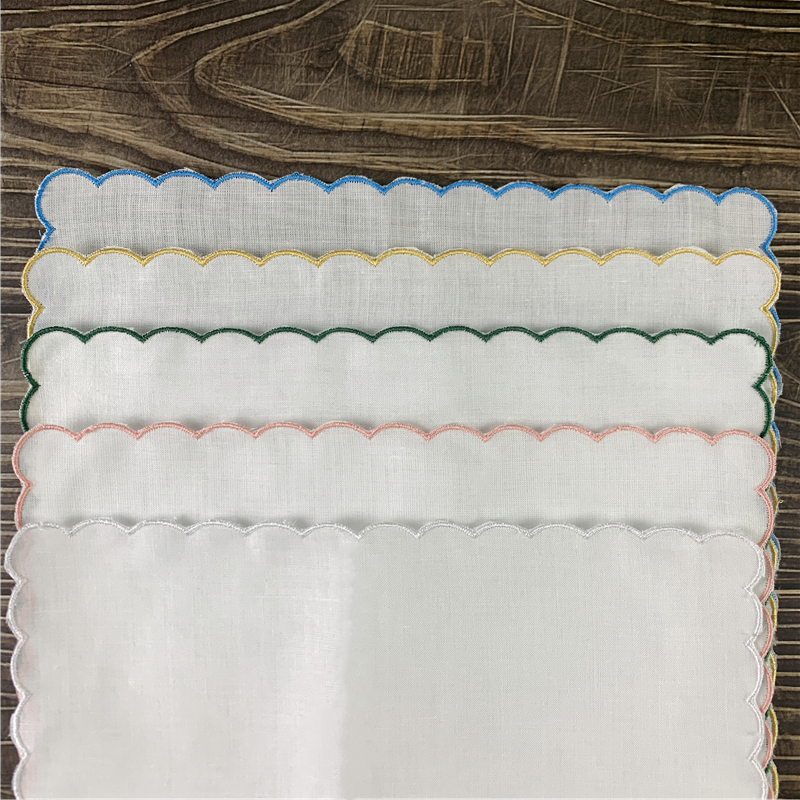 Set Of 12 Home Textiles Wedding Handkerchiefs Ladies Handkerchief 100% Linen Color Embroidered Scalloped Edge Hankies 30*30 CM