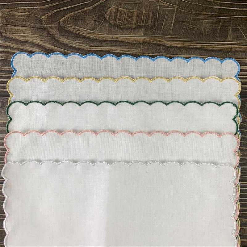Set Of 12 Home Textiles Wedding Handkerchiefs Ladies Handkerchief 100% Linen Color Embroidered Scalloped Edge Hankies 30*30 CM