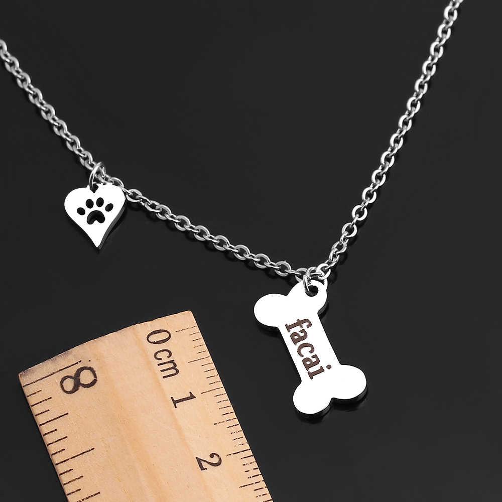 Pies pazur naszyjnik choker ze stali nierdzewnej niestandardowy naszyjnik z imieniem psa spersonalizowany naszyjnik z kości psa biżuteria dowolna tabliczka znamionowa dostosowana