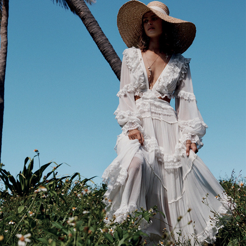 Summer Runway Designer Dress Women 2020 Vacation Bohemian Sexy Backless White Hollow Out Lace Patchwork Long Dress
