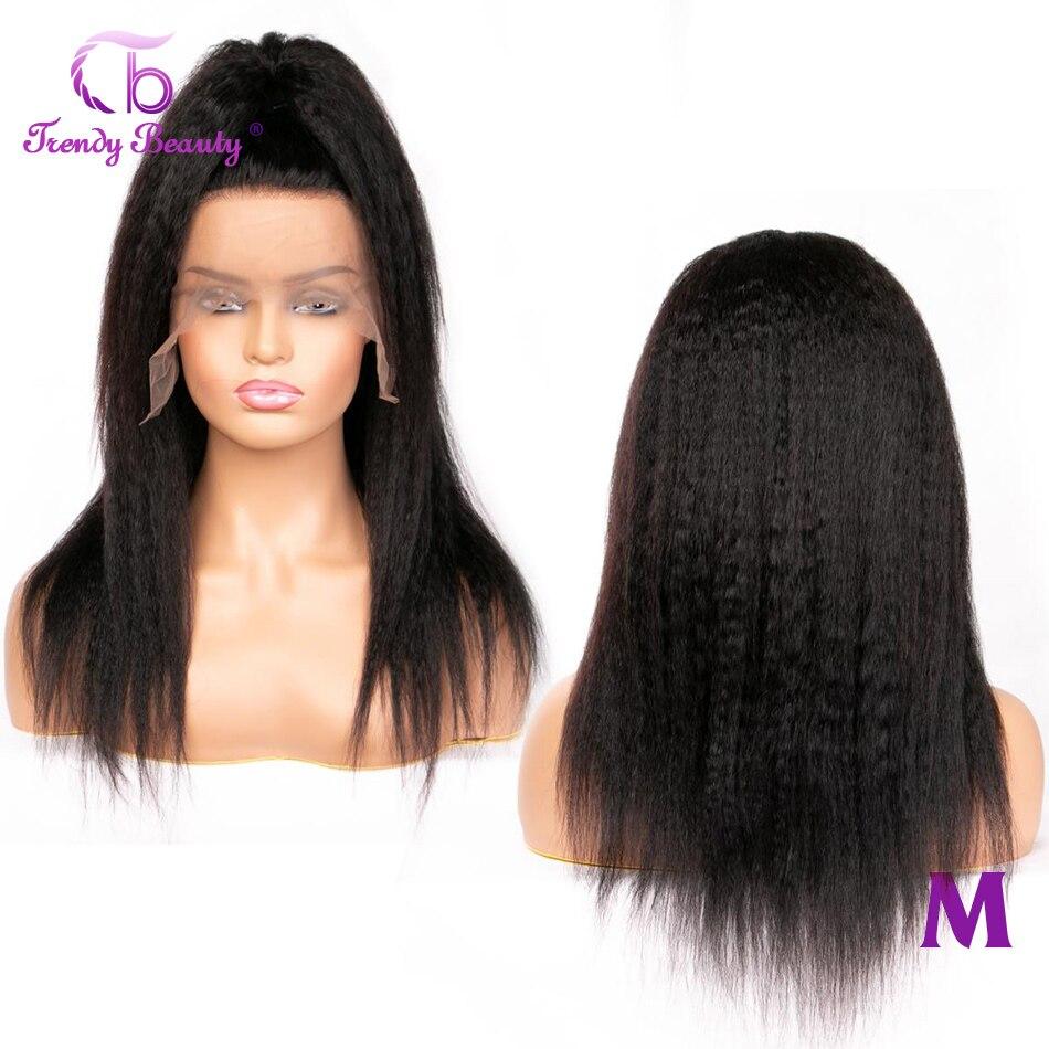 Na moda beleza kinky perucas retas 4x 4/13x4 perucas da parte dianteira do laço para preto 150% densidade não remy peruano yaki perucas de cabelo humano