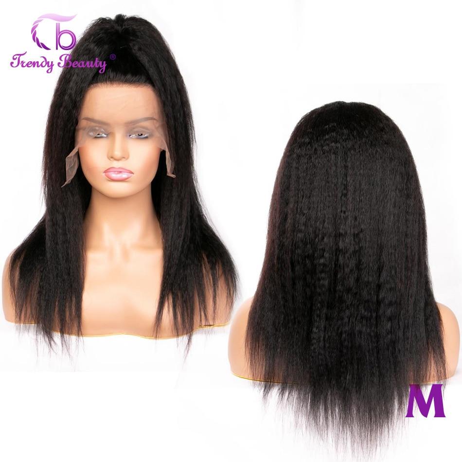 Trendy Beauty Kinky Straight Wigs 13x4 Lace Wigs For Black Women 150% Density Non-remy  Peruvian Yaki Human Hair Wigs