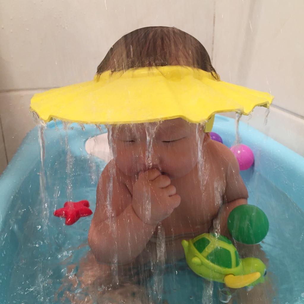 Ayarlanabilir hafif bebek banyo kabı EVA plastik su geçirmez duş boneleri şapka çocuk yürümeye başlayan şampuan banyo aksesuarları
