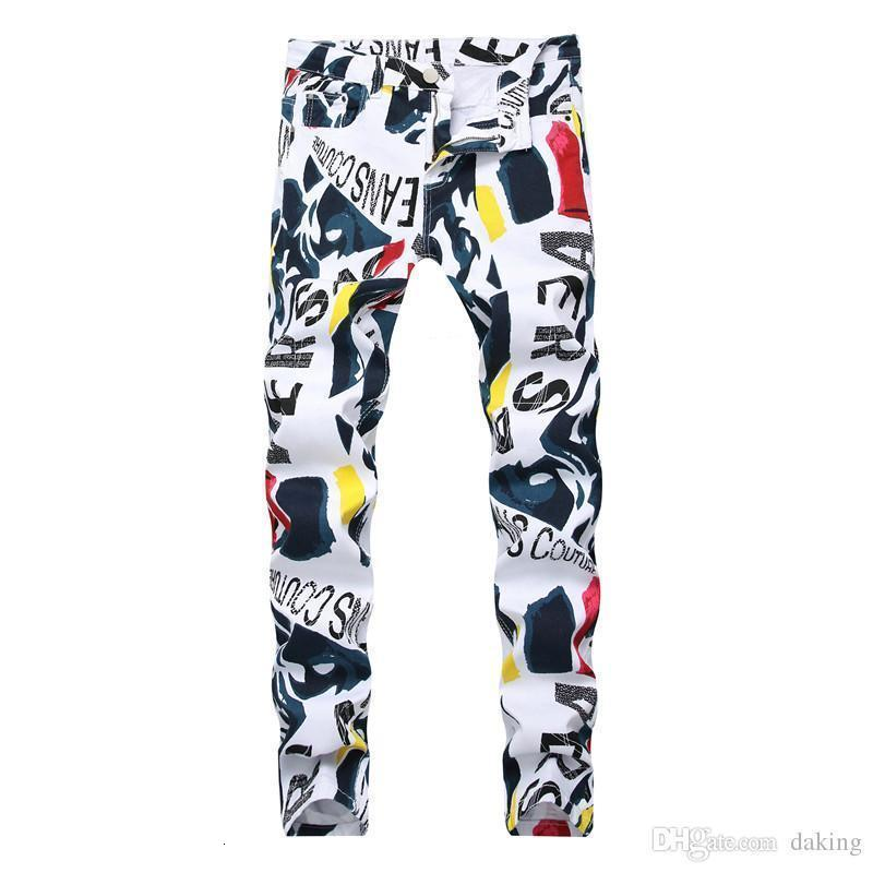 Men Print Jeans Hip Hop Denim Pants New Brand Casual Pants 3d Painted Jeans Colorful White Skinny Cotton Blend Long Trousers