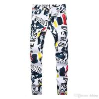 Men Print Jeans Hip Hop Denim Pants New Brand Casual Pants 3d Painted Jeans Colorful White Skinny Cotton Blend Long Trousers