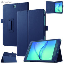 "Tablette étui pour samsung Galaxy Tab A T550 T555 SM-T550 9.7 ""support à rabat en cuir PU étui intelligent coque de protection + Film + stylet(China)"