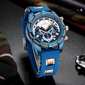 Image 2 - ¡Venta al por mayor! Reloj MEGALITH deportivo para hombre, correa de silicona impermeable, cronógrafo, relojes de pulsera de cuarzo, reloj Masculino con caja