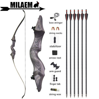 60Inch Archery Takedown Recurve Bow And Arrow Set Hunting Bow 30-60lbs With 6pcs Fiberglass Arrows Target Shooting Accessories