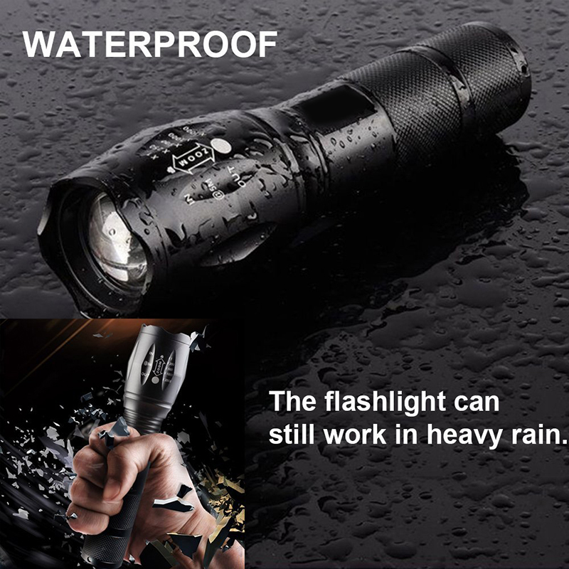 LED Flashlight 5 Modes T6 L2 Aluminum Waterproof Zoomable Torch Tactical Light Use 18650 Rechargeable Battery Lamp For Hunting