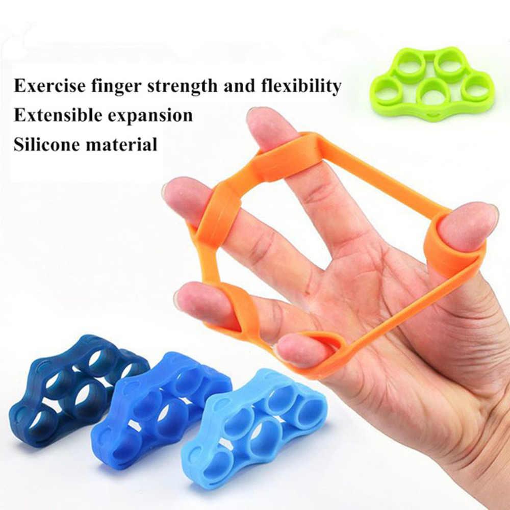 Silikon Jari Gripper Kekuatan Pelatih Perlawanan Band Tangan Grip Pergelangan Tangan Yoga Tandu Jari Pelatih Latihan Gratis Pengiriman
