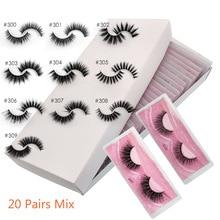 20 Pairs Eyelashes Wholesale Lashes Natural 3d Mink Lashes Makeup Bulk Lashes Thick Fake Eyelashes Wholesale Faux Mink Lashes