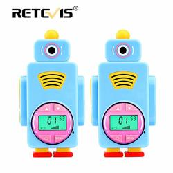 Easter Day Gift 2pcs Retevis RT36 Cartoon Robot Walkie Talkie Kids walkie-talkie Toy Radio Station Flashlight Micro USB Charging