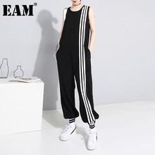 EAM – combinaison à rayures noires pour femmes, pantalon ample, taille haute, avec poches, à la mode, nouvelle collection printemps été 2021, 1DD5160