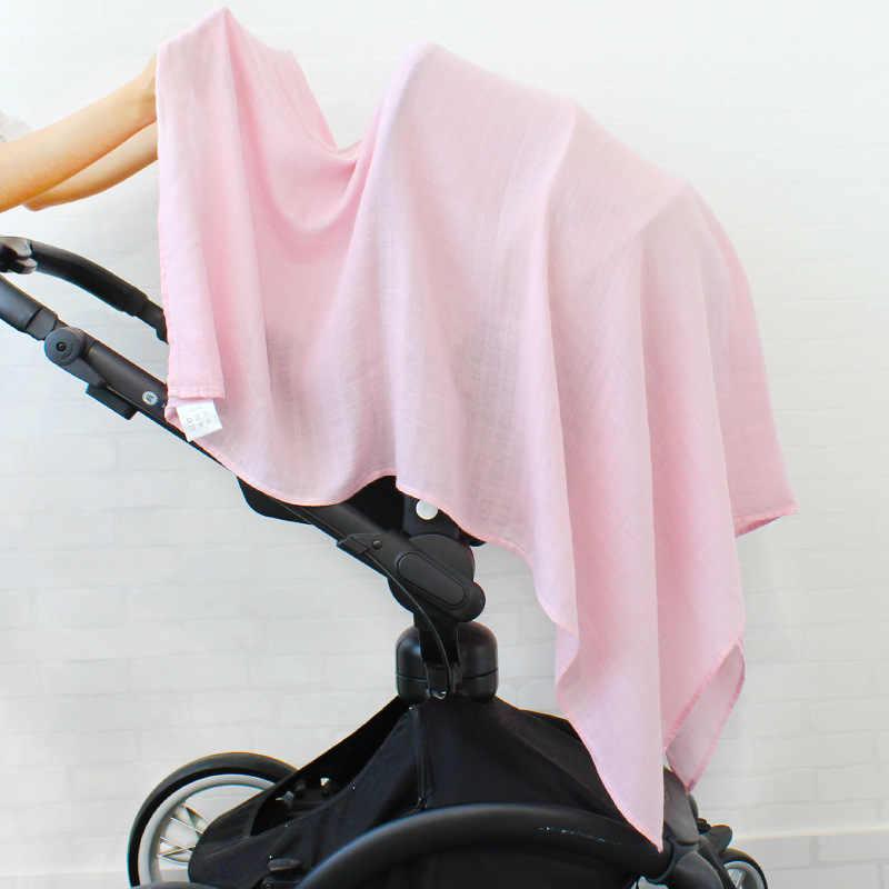 Bambusowe bawełniane miękkie dziecko muślin kocyk do owijania jednokolorowe miękkie oddychające czepek ręcznikowy dziecko przewijać 120x120cm