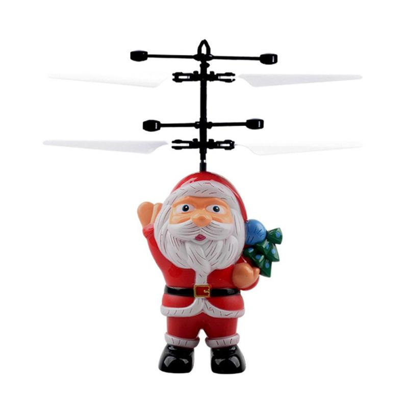 LED Aircraft Toy Santa Clasu Hand Induction USB Flying Helicopter Toys Child Birthday Christmas Gifts
