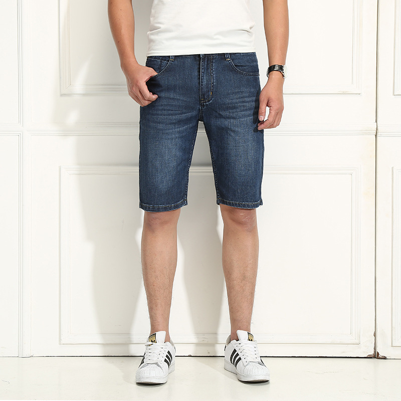 Shorts Men's Summer Large Size Youth Straight-Cut Micro Elastic Shorts MEN'S Jeans Shorts
