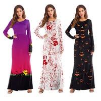 Dress Women Long Sleeve Pumpkins Halloween 3D Print Dresses Casual Party Long Maxi Fashion Dress Women 2018