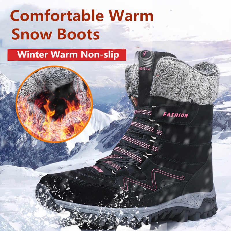 2019 marka yeni moda süet deri kadın kar botları kış sıcak peluş kadın botları su geçirmez yarım çizmeler düz ayakkabı 36- 42