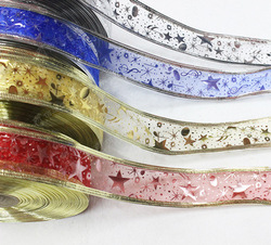100 Yard 1''  ( 2.5CM ) Width Printing Star With Wire On Both Side Christmas Decoration Organza Ribbon Printed Ribbon